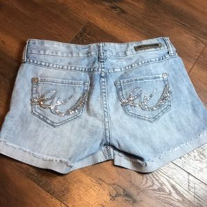 Express Light Wash Glitter Pocket Shorts